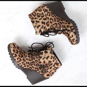 Flecha cheetah print wedge bootie